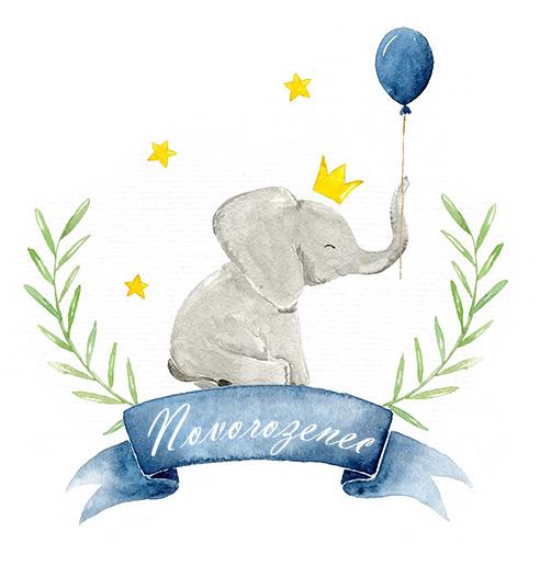 Novorozenec přáníčko s balónkem