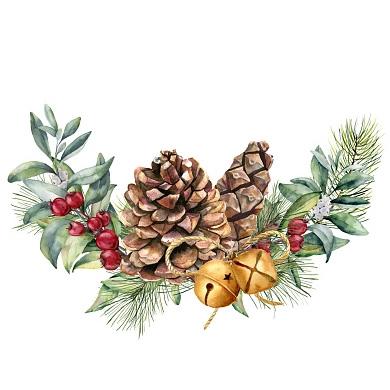 Vánoční dekorace - větve s šiškou